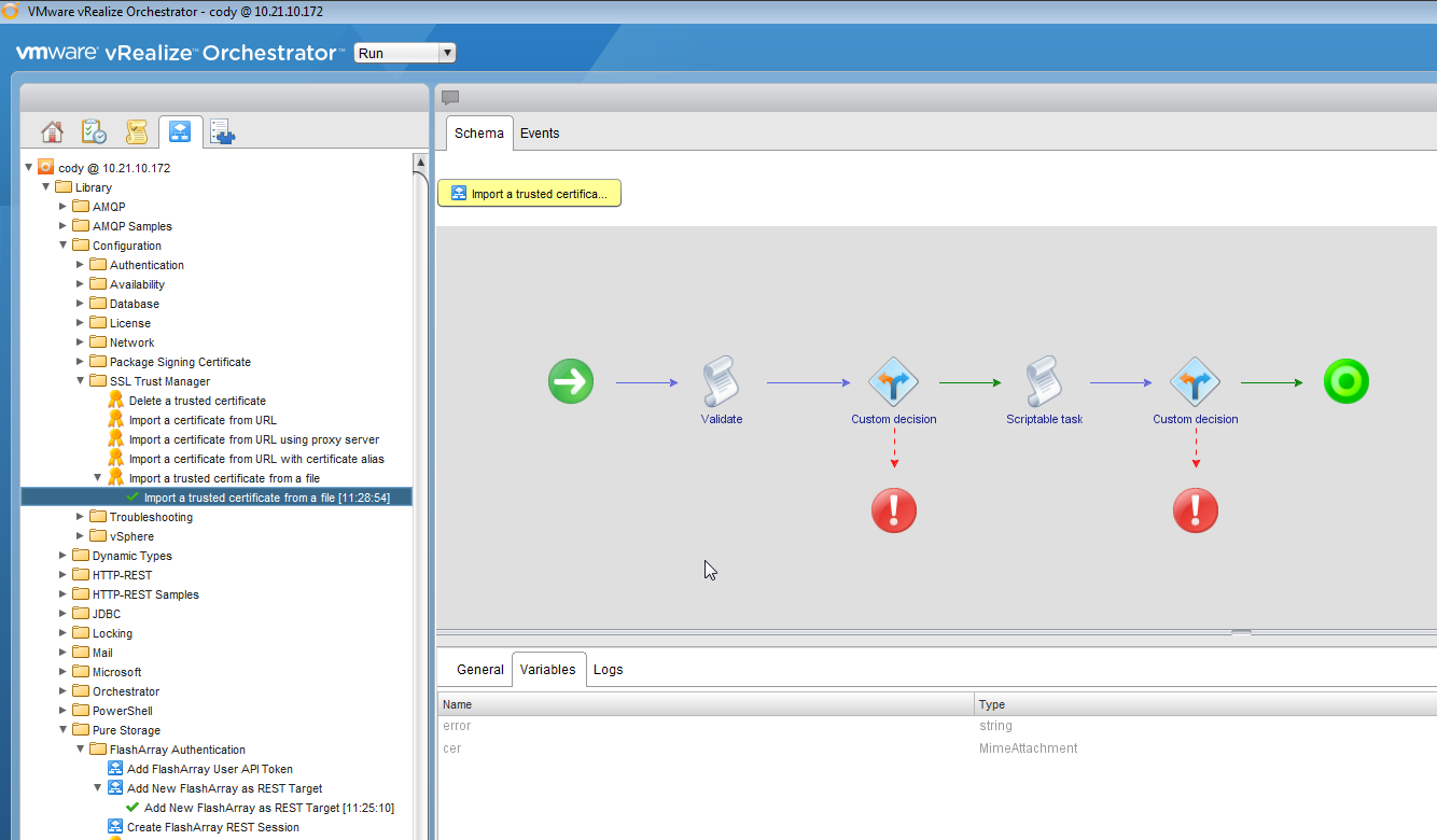 Vrealize orchestrator tls 12 and certificate importing cody this will import your cert bypassing the cert tls issue xflitez Image collections